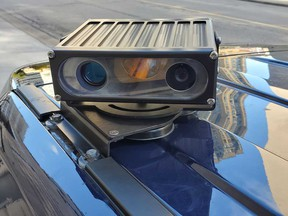 A close-up of one of the roof-mounted cameras on the new Windsor police vehicle equipped with the Automatic Licence Plate Recognition System.