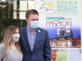 Caitlin Collins David and Adam David are shown during a press conference at the Windsor Regional Hospital Met Campus on Wednesday, October 14, 2020. The couple raised funds to purchase a CuddleCot for the hospital after the stillbirth of a daughter.