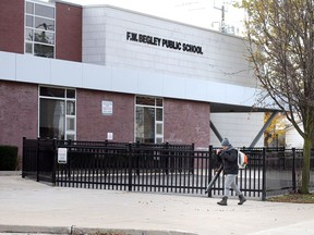 Frank W. Begley Public School on Assumption Street in Windsor, shown Nov. 23, 2020, is one of several local schools suffering COVID-19 outbreaks.