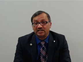 Medical Officer of Health Dr. Wajid Ahmed is seen during a virtual news conference on Thursday, Nov. 19, 2020.