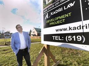 Windsor immigration lawyer Eddie Kadri is shown on a empty lot on Ouellette Ave. on Thursday, November 12, 2020, where he is planning to building a new office.
