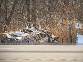 TILBURY, ONT:. NOVEMBER 23, 2020 - OPP investigate a fatal motor vehicle collision on Highway 401 EB, east of Queen St. North, Monday, Nov. 23, 2020.  East bound traffic is being rerouted off 401 at the Mill Street off-ramp.