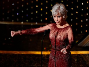 Jane Fonda says goodnight after presenting the Best Picture award at the 92nd Academy Awards in Hollywood, February 9, 2020.
