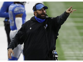 Detroit Lions head coach Matt Patricia points down the field during the fourth quarter against the New Orleans Saints at Ford Field.