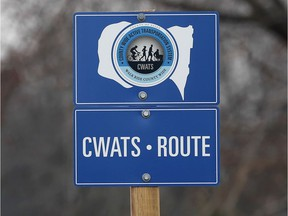 A CWATS route sign is shown along Old Tecumseh Road in Lakeshore on March 21, 2019. Essex County council on Wednesday night approved further expansion of its active transportation network.