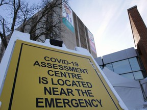 COVID-19 assessment centre sign at WRH Met Campus in February 2021.