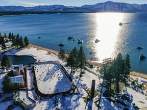 In an aerial view from a drone, the Boston Bruins and the Philadelphia Flyers warm-up prior to the 'NHL Outdoors At Lake Tahoe' at the Edgewood Tahoe Resort on February 21, 2021 in Stateline, Nevada.