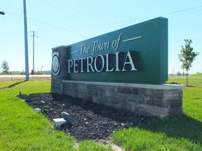 The Town of Petrolia sign that welcomes visitors to the Lambton County town.