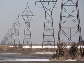 Hydro lines north of Tilbury, pictured on Thursday,  are located on Hydo One's preferred route for the Chatham-to-Lakeshore transmission line.