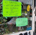 """Expo Vintage Clothing on Dundas West, which has only been open for about a year -- pretty much when the pandemic started -- put up a sign this past Monday that reads: """"Hey Tory/Ford, why can Walmart sell clothing but we can't!!!? We are NOT 'in this together' anymore."""""""