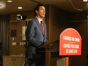 Prime Minister Justin Trudeau announces a program about Stronger Gun Control at the Don Valley Hotel and Suites September 20, 2019.