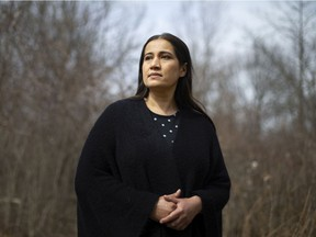 Fareeha Nadeem, pictured outside her home on Tuesday, March 23, 2021, recently had border issues after her husband returned from Michigan following a health visit and had to travel to Toronto by ambulance to quarantine.