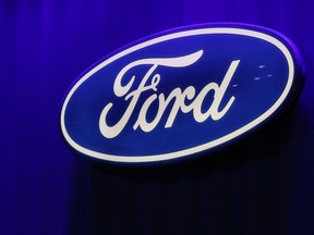 FILE PHOTO: The Ford logo seen at the North American International Auto Show in Detroit, Michigan, U.S., January 15, 2019.