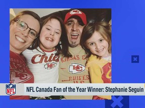 Stephanie Seguin and her family in an image from a NFL Network broadcast in March 2021.