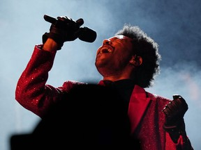 The Weeknd performs during the halftime show of Super Bowl LV football game between the Kansas City Chiefs and Tampa Bay Buccaneers, Sunday, Feb. 7, 2021, in Tampa, Fla.
