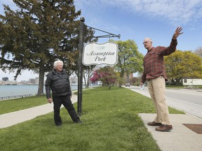 Lawyer Paul Mullins, left, and local businessman Mike Cardinal speak to reporters about the city's proposed Celestial Beacon project on Monday, April 26, 2021, at the Assumption Park in Windsor.