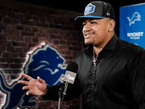Detroit Lions' first-round pick Penei Sewell speaks to the media on Saturday during his introductory press conference.