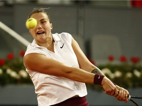Belarus' Aryna Sabalenka in action during her semi final match against Russia's Anastasia Pavlyuchenkova at Madrid Open in Spain on May 6, 2021 .