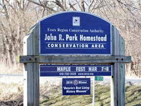 The sign outside the John R. Park Homestead is shown March 7, 2020.