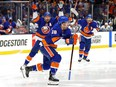 Islanders forward Anthony Beauvillier celebrates after scoring the game-winning goal during the first overtime period against the Lightning in Game 6 of the Stanley Cup Semifinals at Nassau Coliseum in Uniondale, N.Y., Wednesday, June 23, 2021.