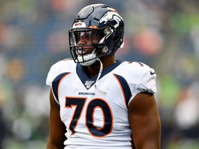 Ja'Wuan James of the Denver Broncos warms up before the preseason game against the Seattle Seahawks at CenturyLink Field on August 08, 2019 in Seattle, Washington.