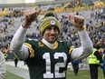 Aaron Rodgers of the Green Bay Packers reacts after getting the win against the Washington Redskins at Lambeau Field on Dec. 8, 2019 in Green Bay, Wis.
