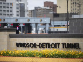 The entrance to the Windsor-Detroit Tunnel is seen on Friday, June 18, 2021.  The closure of the Canadian-U.S. border for non-essential travel has been extended to July 21.