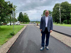 Windsor Mayor Drew Dilkens stands on the newly-opened bike path on Matchette Road in Windsor's west end. Photographed July 23, 2021.