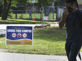 """A """"Smoke-Free Campus"""" sign is shown at the University of Windsor on Tuesday, August 31, 2021."""
