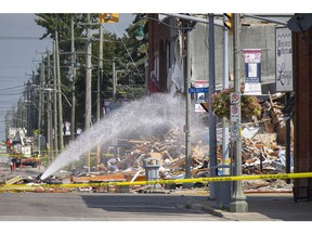 Wreckage from a gas explosion on Erie St. North in Wheatley is seen on Friday, August 27, 2021.