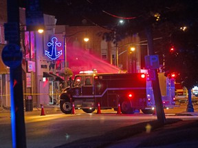 Emergency personnel block of streets in Wheatley following a large explosion on Thursday, Aug. 26, 2021.