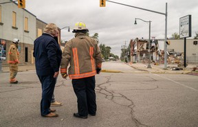 Ontario Premier Doug Ford is shown at the blast site in downtown Wheatley on Tuesday. (Handout)