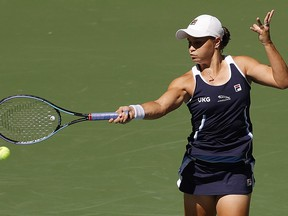 Ashleigh Barty of Australia returns the ball against Clara Tauson of Denmark during her Women's Singles second round match on Day 4 of the 2021 U.S. Open at USTA Billie Jean King National Tennis Center on Sept. 2, 2021 in New York City.