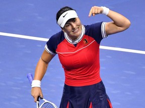 Bianca Andreescu celebrates during her 2021 US Open Tennis tournament women's singles first round match against Viktorija Golubic at the USTA Billie Jean King National Tennis Center in New York City, on Tuesday, Aug. 31, 2021.