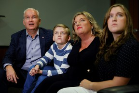 Conservative Party Leader Erin O'Toole along with wife Rebecca and children Jack and Mollie, watch early election results in Oshawa September 20, 2021.
