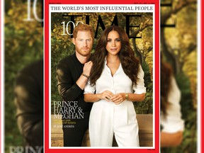 Britain's Prince Harry and Meghan, Duchess of Sussex, appear on the cover of Time magazine's 100 most influential people in the world edition in this handout photo released to Reuters on September 15, 2021.