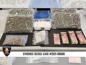 Windsor police seized fentanyl, cocaine, cannabis, and other drugs with a total estimated street value of $450,000 during raids at multiple residences on Tuesday, Sept. 21, 2021.
