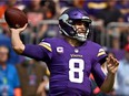 Kirk Cousins of the Minnesota Vikings throws a pass during the second quarter in the game against the Cleveland Browns at U.S. Bank Stadium on October 03, 2021 in Minneapolis, Minnesota.