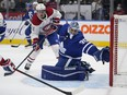 Maple Leafs goaltender Petr Mrazek (35) defends the goal as Montreal Canadiens forward Brendan Gallagher (11) waits for a pass during the second period at Scotiabank Arena.