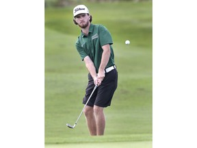 The St. Clair Saints' Simon Desmarais competes in the Canadian Collegiate Athletic Association Golf National Championships at the Ambassador Golf Club on Tuesday.
