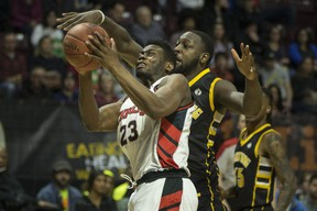 Windsor's Kemy Osse takes it strong to the basket in National Basketball League of Canada action between the Windsor Express and the London Lightning at the WFCU Centre in Windsor on Feb. 21, 2020. (DAX MELMER/Windsor Star)