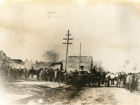 This photo, looking west along Sandwich Street (now Riverside Drive) towards Ouellette Avenue shows what remains after the Great Windsor Fire of 1871, which started at Ouellette Avenue and Pitt Street on Oct. 12.
