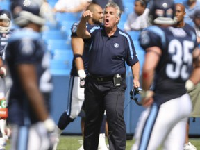 Argos coach Jim Barker gives the officials an earful after a 15-year penalty was called against his team in a 2010 CFL game.