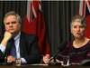 Lori Lamont (right), Winnipeg Regional Health Authority acting chief operating officer, speaks during a press conference on the release of the wait-times task force report at the Manitoba Legislative Building in Winnipeg on Wed., Dec. 20, 2017. Shared Health CEO Dr. Brock Wright is at left. Kevin King/Winnipeg Sun/Postmedia Network