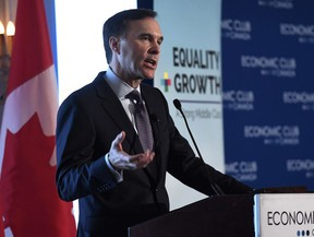 Minister of Finance Bill Morneau participates in a post-budget discussion at the Economic Club of Canada in Ottawa on Wednesday, Feb. 28, 2018.