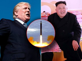 U.S. President Donald Trump (L) has agreed to meet with North Korean Leader Kim Jong Un by may to discuss permanent denuclearization, a South Korean official has said. (BRENDAN SMIALOWSKI/AFP/Getty Images/KCNA VIA KNS/STR/AFP/Getty Images/Korean Central News Agency/Korea News Service via AP, File)