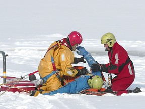 At around noon on Saturday, Winnipeg Fire Paramedic Service (WFPS) Water Rescue team helped rescue a snowmobile driver who had partially broken through the ice on the La Salle River in St. Norbert.