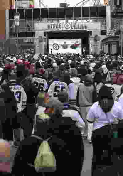 People crowd Donald Street for the Winnipeg Whiteout Street Party on Wed., April 11, 2018. Kevin King/Winnipeg Sun/Postmedia Network