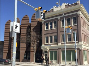 """The exterior of Merchants Corner, an education, community and housing hub on Selkirk Avenue in Winnipeg's North End, which was officially opened on Saturday, April 28, 2018.The multi-million dollar project replaces the old Merchants Hotel, described as a """"flashpoint for community frustration and a symbol of decline""""."""