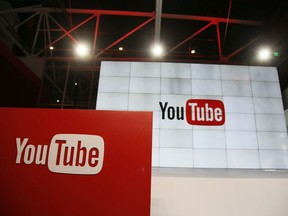 This Oct. 21, 2015, file photo shows signage inside the YouTube Space LA offices in Los Angeles.